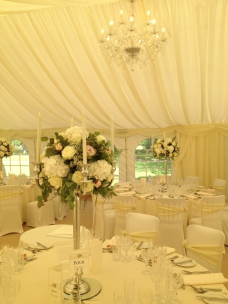 Candelabras in the marquee