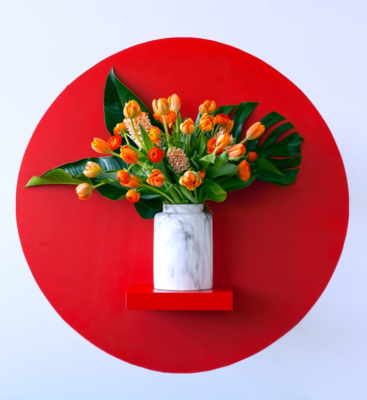 Vase of tulips and spring flowers